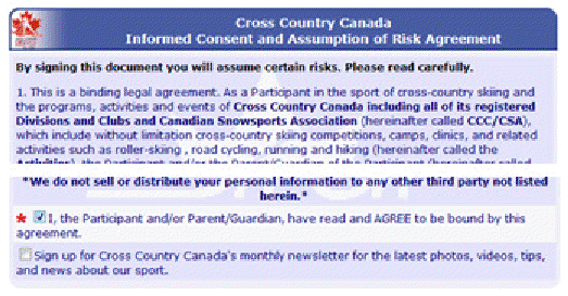 Cross Country Canada consent form